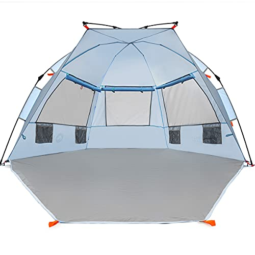 asthills Outdoors Easy Up Beach Tent Sun Shelter - Extended Zippered Porch Included