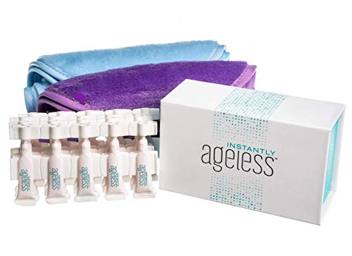 Instantly Ageless Jeunesse 25 Viales W/Gratis paños para Quitar Maquillaje | 25 Vial Box Set con 2 paños Eraser Maquillaje Gratuito