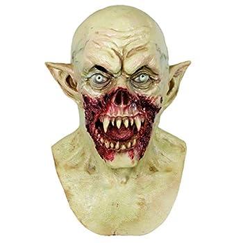 Molezu Vampire Mask Scary Dracula Monster Halloween Costume Party Horror Demon Zombie  earthy yellow   A
