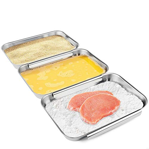 HULISEN Set of 3 Breading Pans, Stainless Steel Breading Set for Marinating Meat, Chicken, Fish, Food Prep Trays, Coating Trays Can Be Used to Baking Cake, Oven Safe