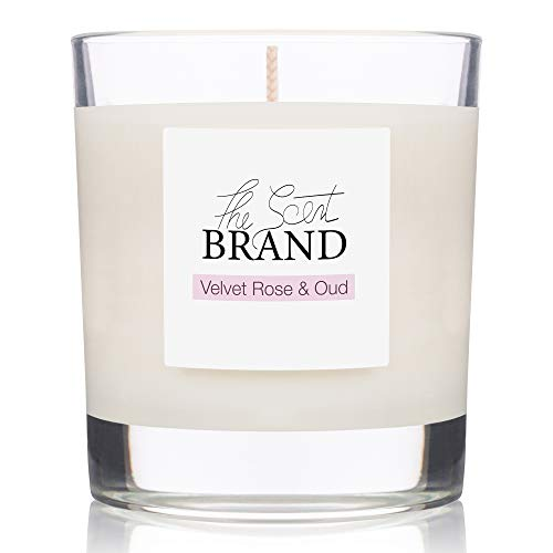 The Scent Brand Scented Candles   Oud & Velvet Rose Candle   Natural Candle Hand Poured in the UK, Burn Time 40hrs