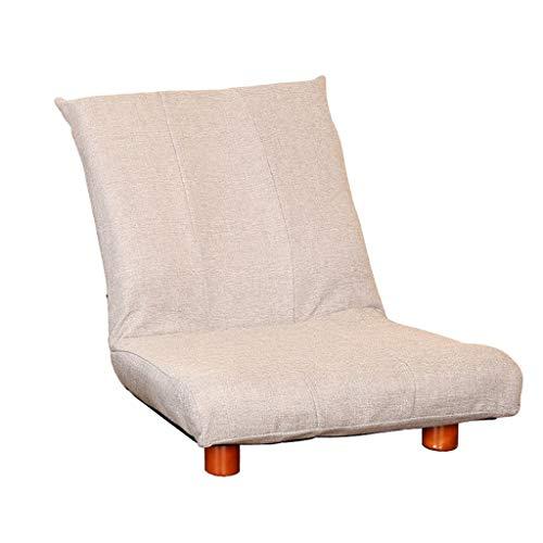 WXQ Meditationssessel blau Stoff Sofa Schlafzimmer kleines Sofa Tatami Single Sofa Stuhl Lazy Chair Lesen Buch ohne Beine Klappstuhl Erkerfenster Stuhl, Baumwolle und Bettzeug, braun, 60*56*66CM