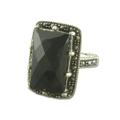 Genuine Sterling Silver Ring Black Agate and Marcasite Fancy Oblong Brand New