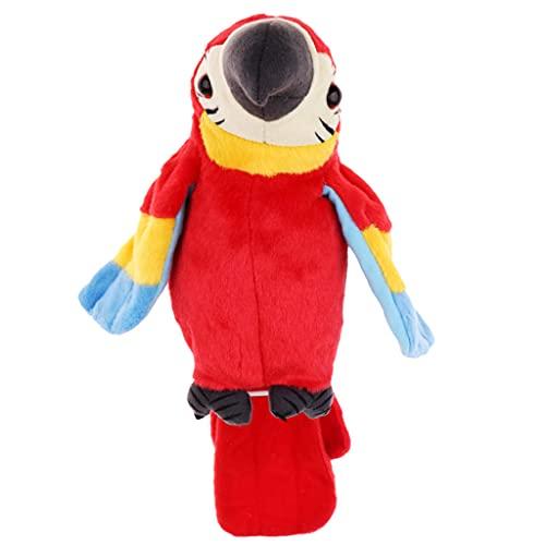 Amagogo Talking Parrot Repite Lo Que Dices, El Juguete de Peluche de Loro Eléctrico Que Habla, Repitiendo El Juguete Loro, Repitiendo El Loro Hablando, Hablan - Rojo