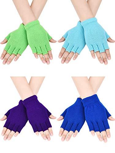 Bememo 4 Paar Fingerlose Handschuhe Halber Finger Fäustlinge Winter Einfarbig Gestrickte Typing Handschuhe für Jungen und Mädchen (Farbe Set 2)