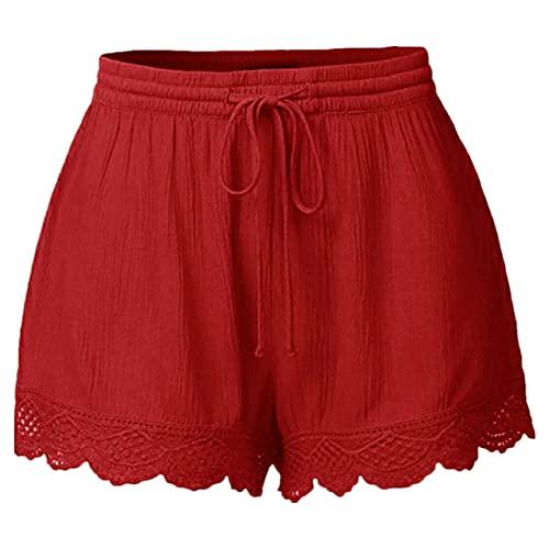 N\P Verano de las Mujeres Cortos de Cuerda Cortos Cortos de Corbata, rosso, L