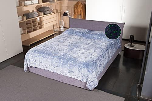 Kanguru Glow Double Bed, Coperta per Letto Matrimoniale Glow Costellazioni, realizzata in soffice...