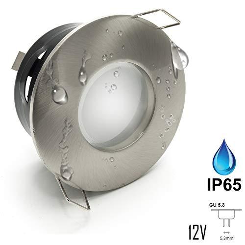 LED-Einbaustrahler IP65 Beleuchtung Duschkabine Badbeleuchtung 12 V MR16 7 W Bianco caldo Silver Spazzolato