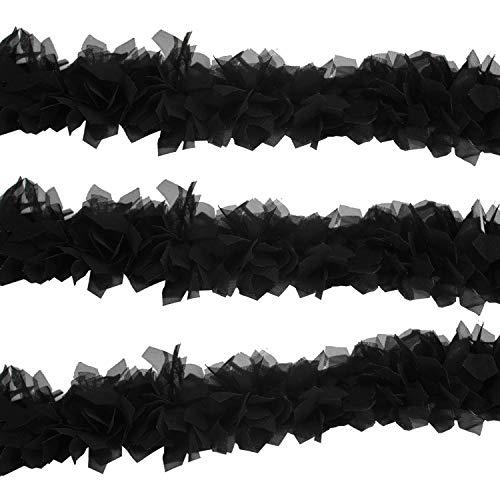 Trimming Shop 50mm Ancho Chifón Ribete de Encaje Tul Flores Cinta Vintage Aplique Para Adorno Ropa,Costura,Bricolaje Novia de la Boda Vestidos - Negro, 5 Metres