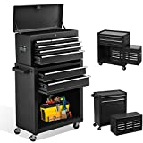 8-Drawer Tool Chest Rolling Tool Storage Cabinet with Wheels,Removable High Capacity Tool Box with Locks for Workshop Mechanics Garage,Warehouse (Black)