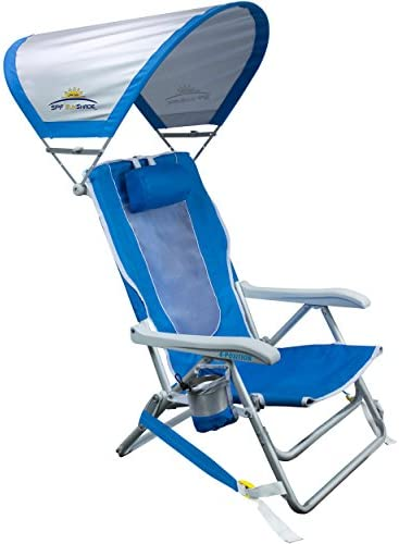 GCI Outdoor Waterside Reclining Portable Backpack Beach Chair with Sunshade product image