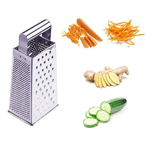 Rallador de queso, rallador de limón, cortador de verduras, rallador de frutas, rallador cuadrado de acero inoxidable, rallador de 4 lados, apto para cortar verduras y frutas