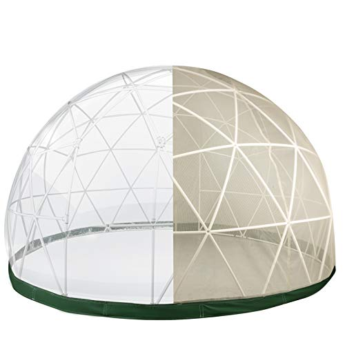 VEVOR Garden Dome 12ft Garden Dome PVC Tent Greenhouse Dome Geodesic Dome Outdoor Dome With PVC Cover Polyester Mesh Geodesic Dome Kit For Greenhouse, Dining Camping, Playhouse