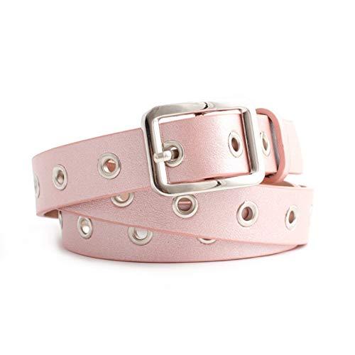 WWDDVH Airhole Belt Women Trend Metal Silver Square Pin Buckle Waistband Thin Belt Versatile