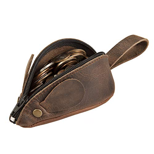 Rustic Leather Mouse Coin Purse Change Pouch Holder Cute Design YKK Zipper Handmade By Nabob Leather - Bourbon Brown