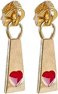 04 Cursor Zíper N°5 Metal Dourado Pingente Coração Vermelho