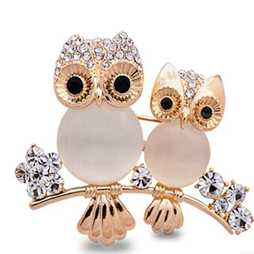 teng hong hui Women Double Owl Rhinestone Brooch Pin Girls Animal Alloy Brooch Pin Alloy Crystal Breastpin Female Wedding Birthday Gift
