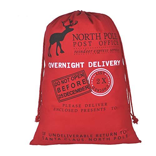 Blank Santa Sack, Personalized Christmas Gift Bag with Drawstringand Gift Ribbon Jumbo Size 27.6'x19.7'(Red)