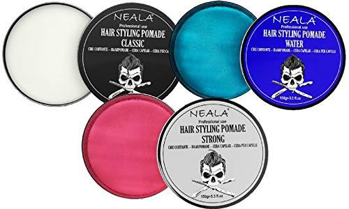 Pack de 3 ceras para pelo de hombre (cera styling para 3 estilos diferentes) - Pomada Neala Classic + Water (efecto mojado) + Strong (fijación fuerte) - Pack 3 latas x 150ml