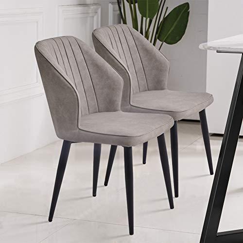 TUKAILAI 2 sillas de comedor de piel sintética gris claro,...