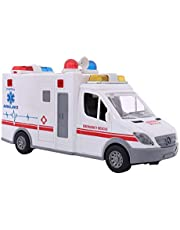 LQKYWNA Simulación De Coches De Juguete Ambulancia con Luces Y Sonidos, Tire hacia Atrás De Fricción Vehículos De Juguete De Emergencia para Cultivar Imaginación De Los Niños
