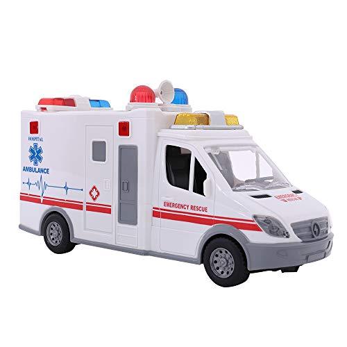 LQKYWNA Simulation Ambulanz-Auto-Spielzeug mit Licht und Sounds, Pull Back Friction Toy Notträger für Vieren Kinder Imagination