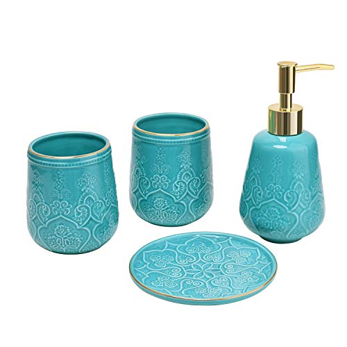 Bathroom Accessories Set Turquoise 4 Pieces Bathroom Soap Dispenser, Toothbrush Holder, Soap Dish Luxury Set