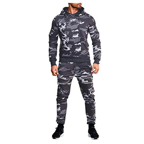 Strungten Herren Jogginganzug Camouflage Sportanzug Jogging Army Cargo Stil Trainingsanzug Sporthose+Hoodie Sweatshirt Hose Sets Hoodie Sport Casual Pullover Modisch Klassisch Trainingsanzug