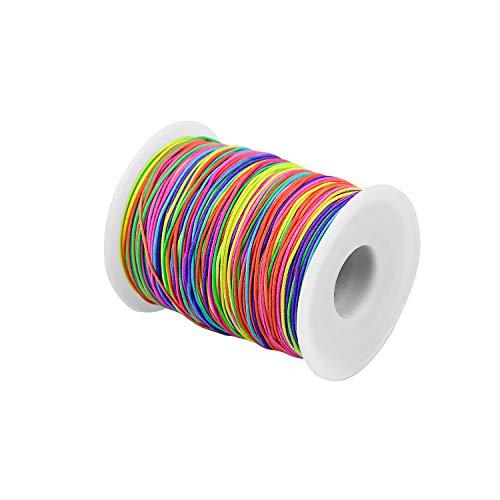 FEIGO 100M Hilo Elástico Cuerda 1mm Redondo de Cordón Elástico de Color para DIY Abalorios Pulsera Collar
