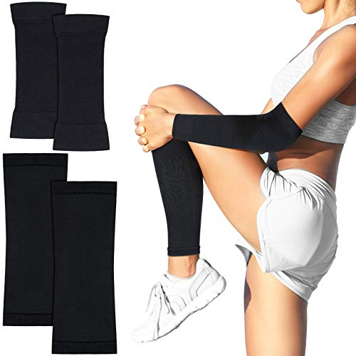2 Pairs Arm Shapers and Calf Compression Sleeves Thigh Slimmer and Slimming Arm Wraps for Women Men Flabby Arms Legs