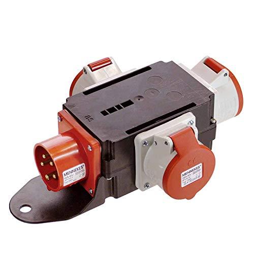 as - Schwabe MIXO Adapter / Stromverteiler RHEIN – 5-poliger CEE-Stecker auf 3 5-polige CEE-Steckdosen – Robuster Baustellen Starkstrom-Verteiler – IP44 – Made in Germany I 60531