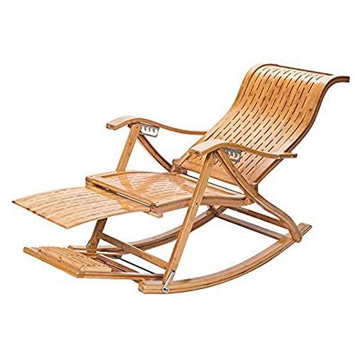 Dtong Plegable Sillon Relax para Jardín Silla Mecedora Portátil con Sombrilla, Material de bambú, Silla Terraza para El Patio del Jardín De La Casa