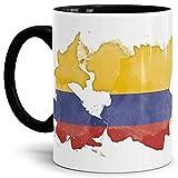 Tassendruck Flaggen-Tasse Kolumbien Innen und Henkel Schwarz - Fahne/Länderfarbe/Wasserfarbe/Aquarell/Cup/Tor/Qualität Made in Germany