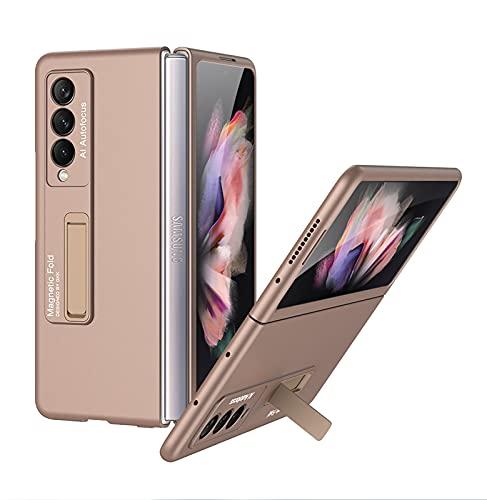 Compatible para Samsung Galaxy Z Fold 3 5G Funda(2021)+3D Vidrio Templado Protector de Pantalla/Ultra Fina Carcasa Magnético PC Flip Libro Funda Suporte Protectora Caja cojín-Oro Rosa