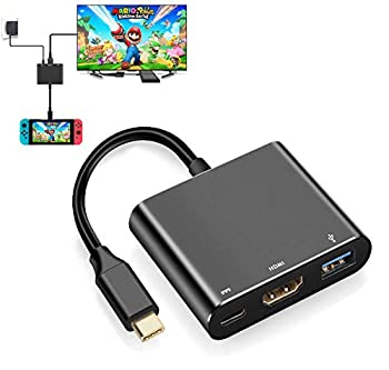 Switch HDMI Adapter Hub Dock,4K USB Type C to HDMI Digital AV Multiport Hub,Portable USB-C  3.1  Adapter PD Charger for Switch Compatible with Mac Book Pro Samsung TV Docking Station