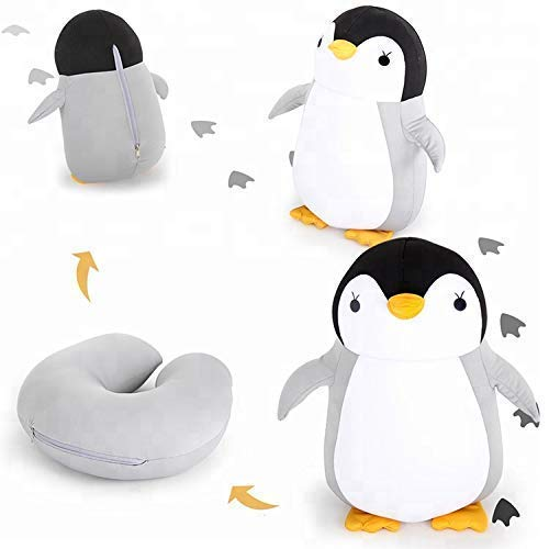 Nestable Convertible 2-in-1 Travel Pillow & Toy Penguin | Neck Pillow for Airplane Travel | Kids Travel Pillow