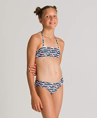 ARENA Mädchen Bandeau Bikini Tropical Summer, White Black, 140