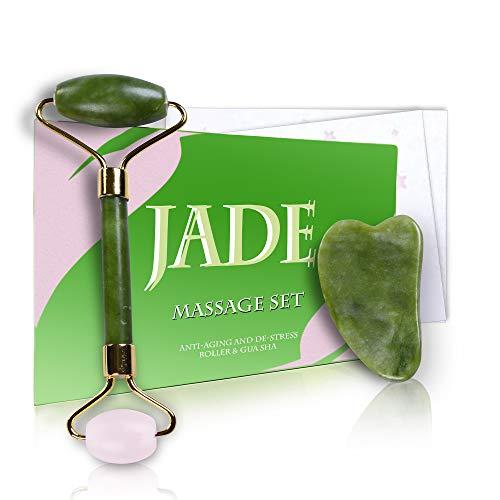 Rullo di Quarzo e Giada 100{ba9ea34f2a4903ac3864ddd08d84b32cb70d9994e9ab42f419f5d0460e568d0f} naturale Massaggiatore per il viso con pietra di gua sha per il cambiamento della vostra pelle, Jade Roller Facial Skincare natural Massager anti-età