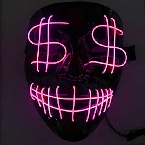 BFMBCHDJ Maschera a LED Maschera horror di Halloween Costume Cosplay Maschera incandescente spaventosa EL Wire Maschera incandescente Maschera Luce sulla festa del festival Cina Taglia unica