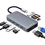 USB C Hub, RayCue 9-in-1 USB C Adapter, USB Type C to 4K HDMI & RJ45 Gigabit Ethernet Adaptor with 4 USB3.0 Ports, SD/TF Card Reader&USB-C Power Delivery Port for Mac-Book Pro, DELL, HP, etc.