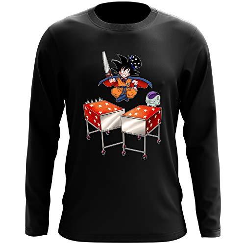 Okiwoki T-Shirt à Manches Longues Noir Dragon Ball Z - DBZ parodique Songoku et Freezer : Tour de Magie. : (Parodie Dragon Ball Z - DBZ)