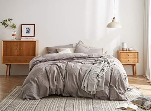 Funda nórdica de lino y algodón (gris completo/Queen)