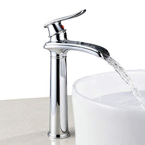 rubinetto miscelatore a cascata per bagno lavabo, cromato, alto