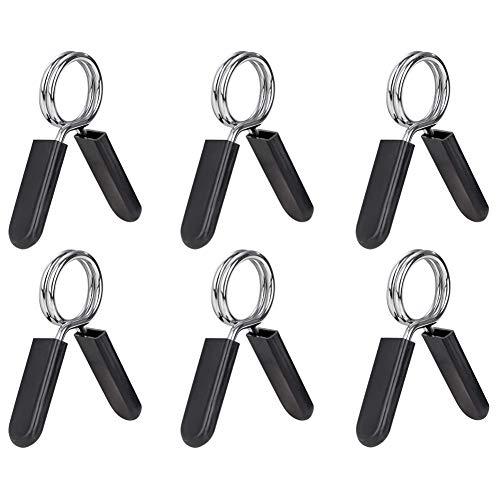 Kuinayouyi Paquete de 6 Abrazaderas de Clip para Barra de 1 Pulgada (25 Mm), Collares de Resorte para Mancuernas para Barra de Peso EstáNdar, Ejercicio, Entrenamiento de Fuerza