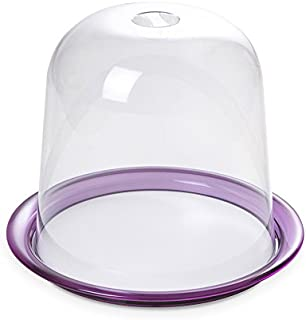 Panettone Tray with dome 26 cm tall and diameter 25 cm, Globo line by Omadadesign  Clear and Purple