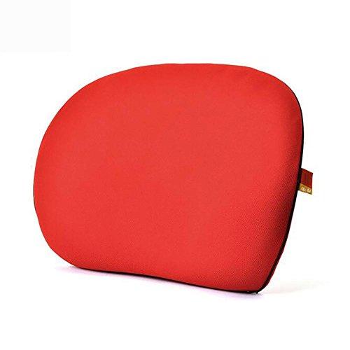 MIAO auto Lumbar - Memory katoen ademende taille kussen, auto met ultradunne rug kussen, bureaustoel Lumbar Pad, rood