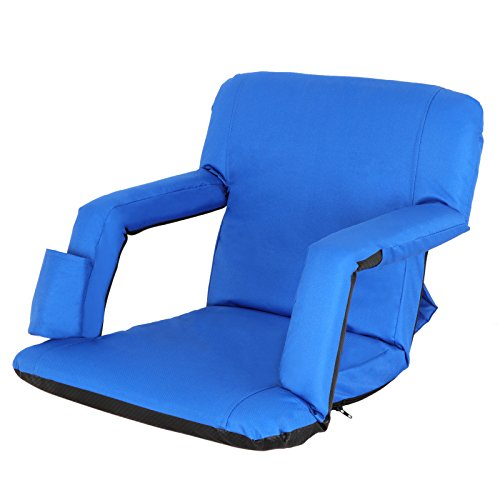 Smartxchoices Blue Stadium Seat Chair Bleacher Seats 5-Reclining Positions Padded with Back Support, Cushion, Arms, Pocket Portable Folding Seat with Shoulder Straps