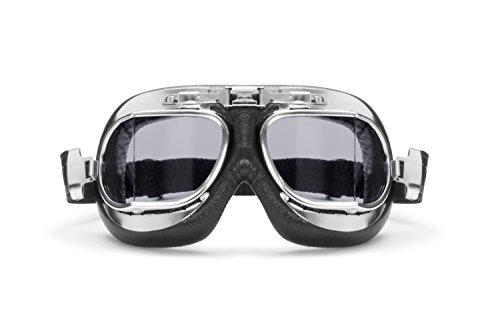 BERTONI Gafas Moto Lentes Antivaho y Antichoque - Perfil de Acero Cromado - AF193CRS Italy - Negro/Lentes Gris Claro - Gafas Vintage Aviador para Cascos Moto Harley y Chopper
