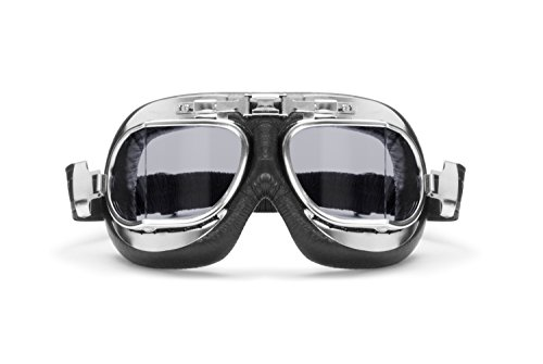 BERTONI motorbril veiligheidsbril vintage - zwart leer - chroom stalen frame - anti-condens en UV-bescherming - AF193CRS vliegenbril met licht donkere glazen