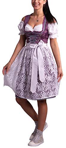 Golden Trachten-Kleid Dirndl Damen 3 TLG, Midi für Oktoberfest, mit Schürze und Bluse Lila geblümt,540GT (38)
